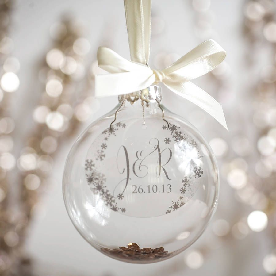 Personalised Initial And Wedding Date Christmas Bauble
