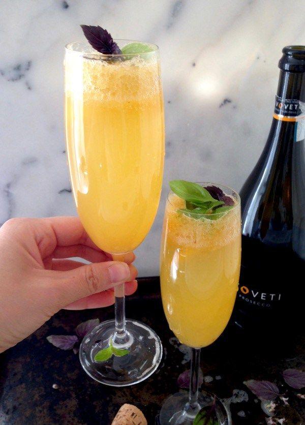 Basil Peach Bellini Cocktail