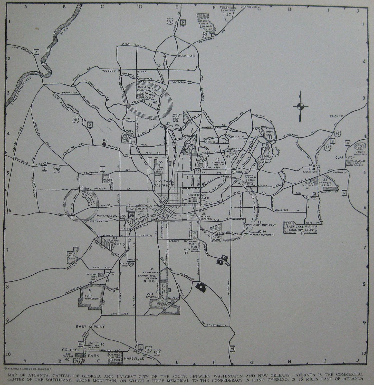 Vintage Atlanta Georgia Map Of Atlanta 1945 Map Black And White