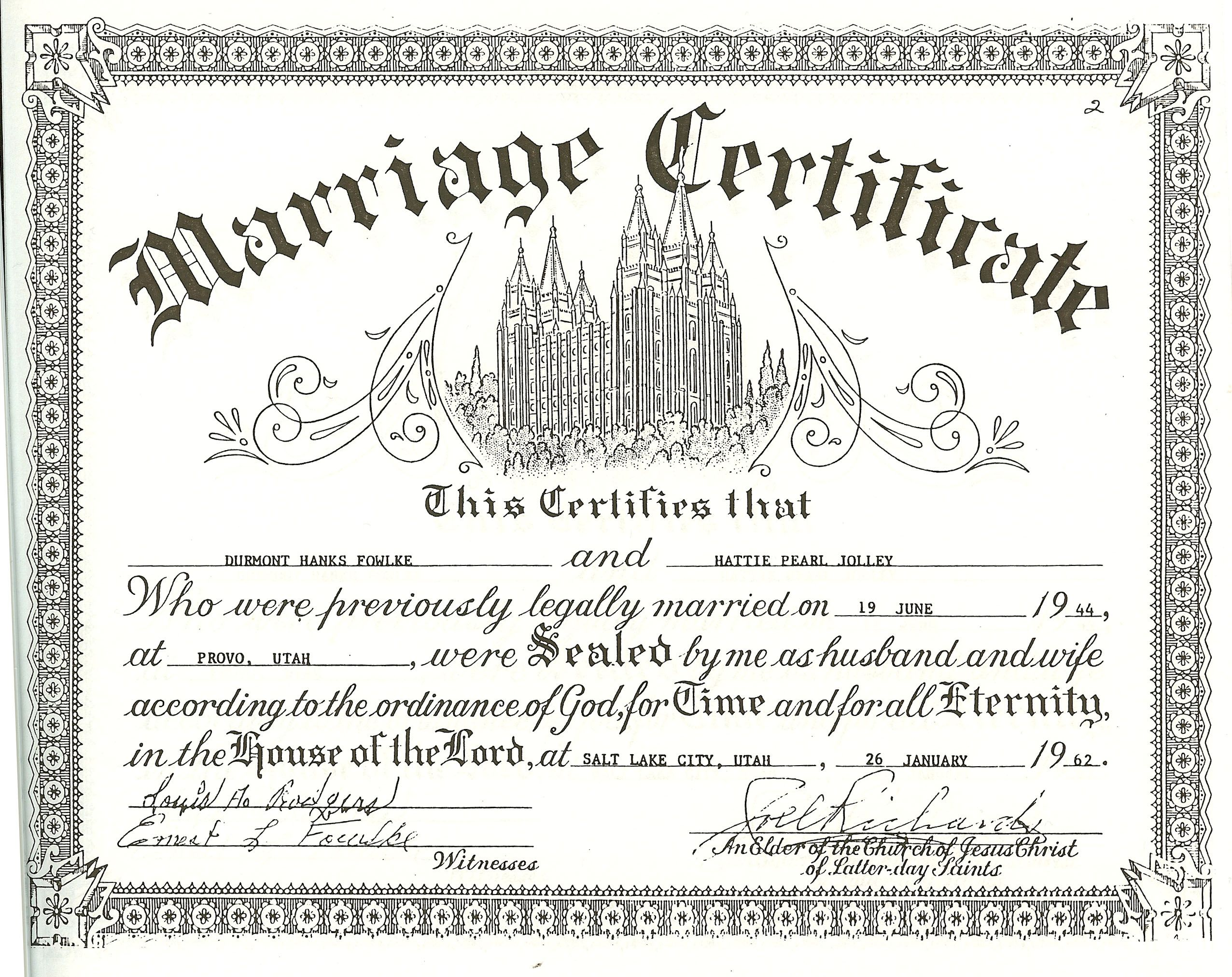 Wedding certificates free dh and pearl fowlke temple marriage wedding certificate yadclub Image collections
