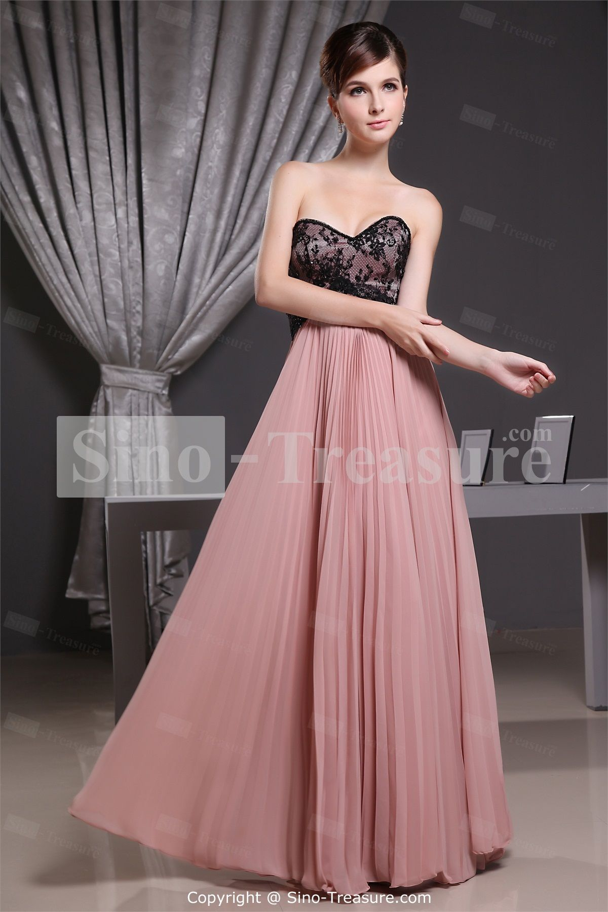 Long hot pink bridesu maid dresses with lace lace floorlength
