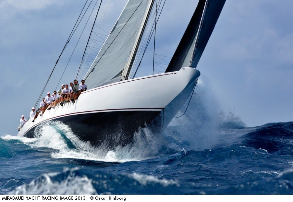 Photo by Oskar Kihlborg - Nice day in Saint Barthelemy with five of the J-Class boats racing round the island.