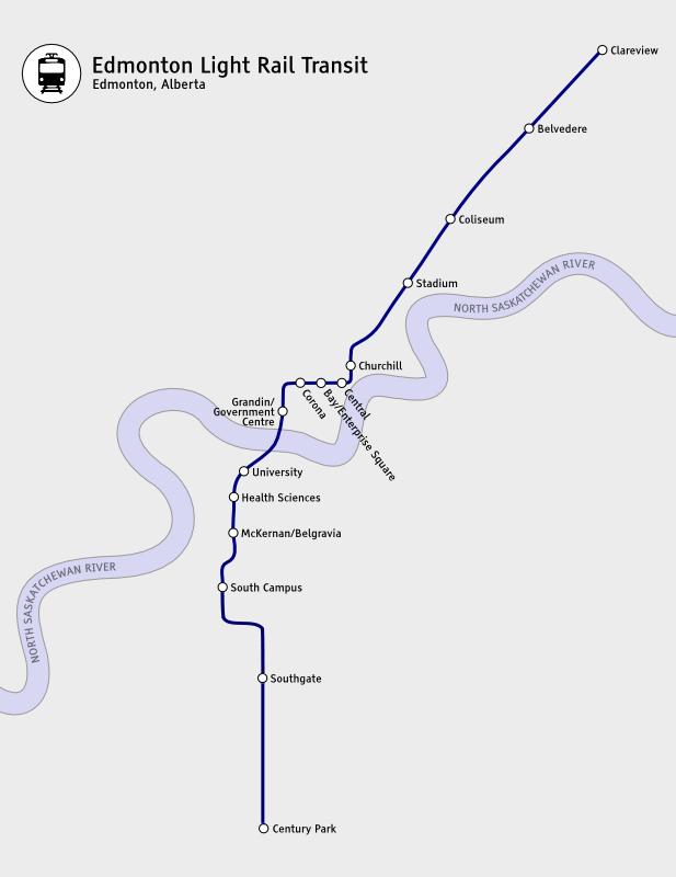 Mappa di LRT di Edmonton, Canada La Metropolitana Leggera di Edmonton (LRT) è solo una parte del sistema Edmonton Transit System (ETS), la società che gestisce il trasporto pubblico e che possiede anche una rete di autobus urbani.