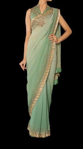 Green sari by Ritu Kumar