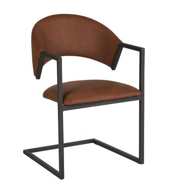 Chaise Design En Cuir Et Metal Au Industriel Moderne Leather Modern Elegant Loft Chair Fer Black Brown