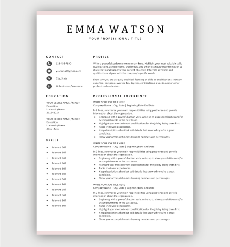 Simple Resume Templates Download Online for Free in 2020