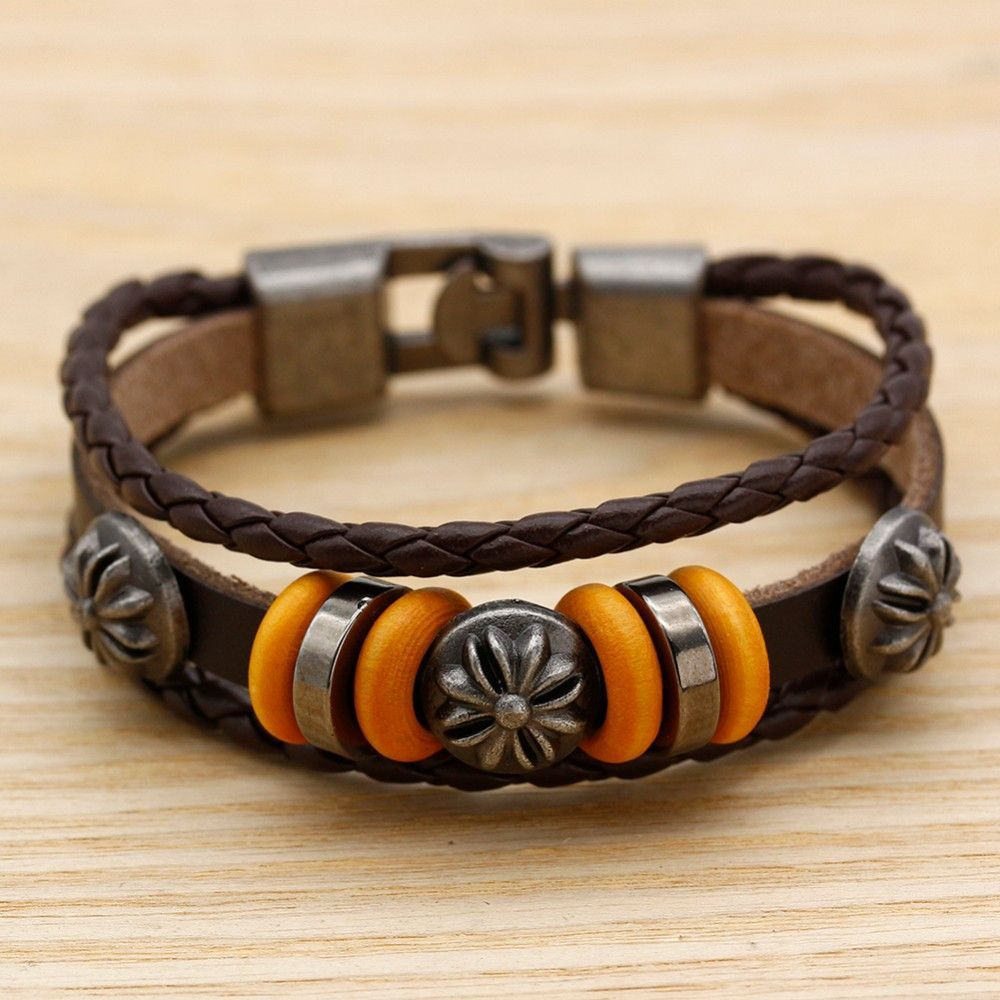 Men jewelry pulseras bracelets braided skull leather bracelets man