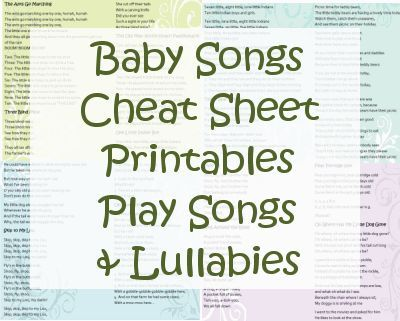 Baby Songs Cheat Sheets Printables - Lyrics for Play Songs ...