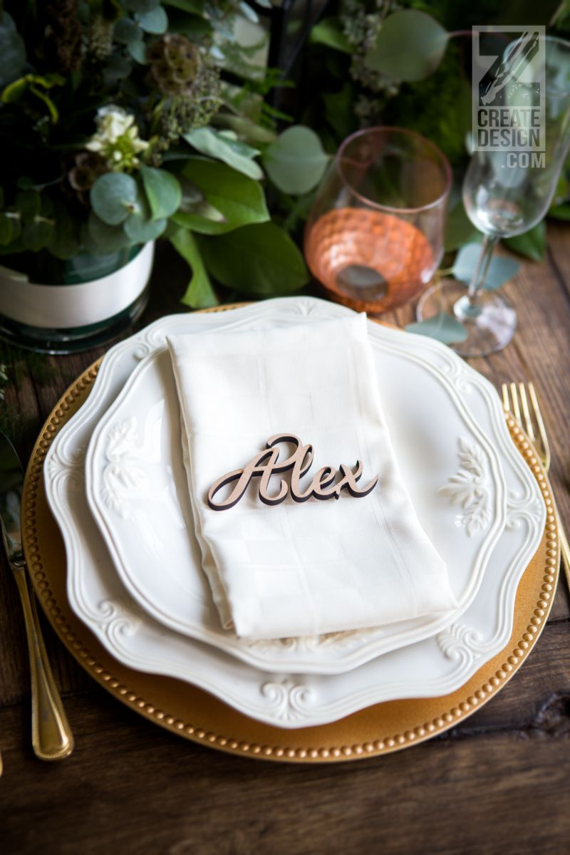 Wedding Place Card Name Wood Plate Names Cutout Words For Wedding