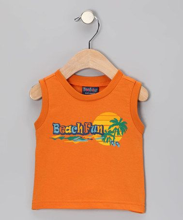 Take a look at this Orange 'Beach Fun' Tank - Infant, Toddler & Boys by Beebay on #zulily today!