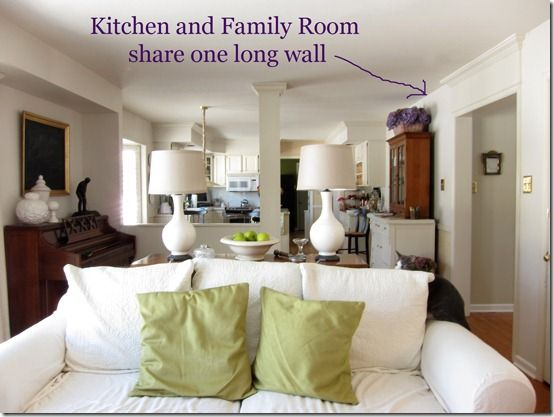 Use decorative molding to separate two room that share a - Doors to separate kitchen from living room ...