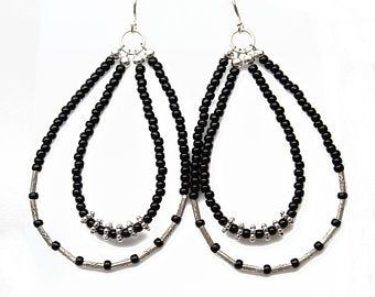 Red Seed Bead Earrings with Tribe Hill Sterling Silver