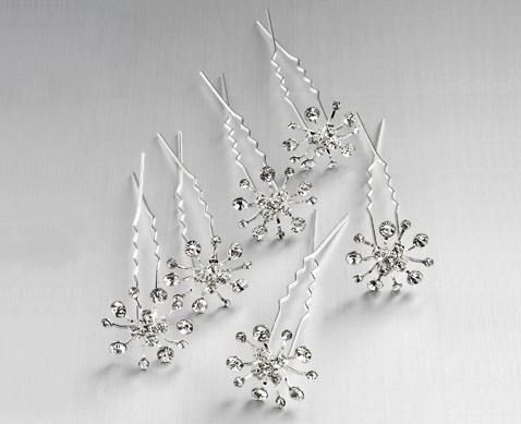 Diamond Snowflake Hair Pins For Bride Or Bridesmaids