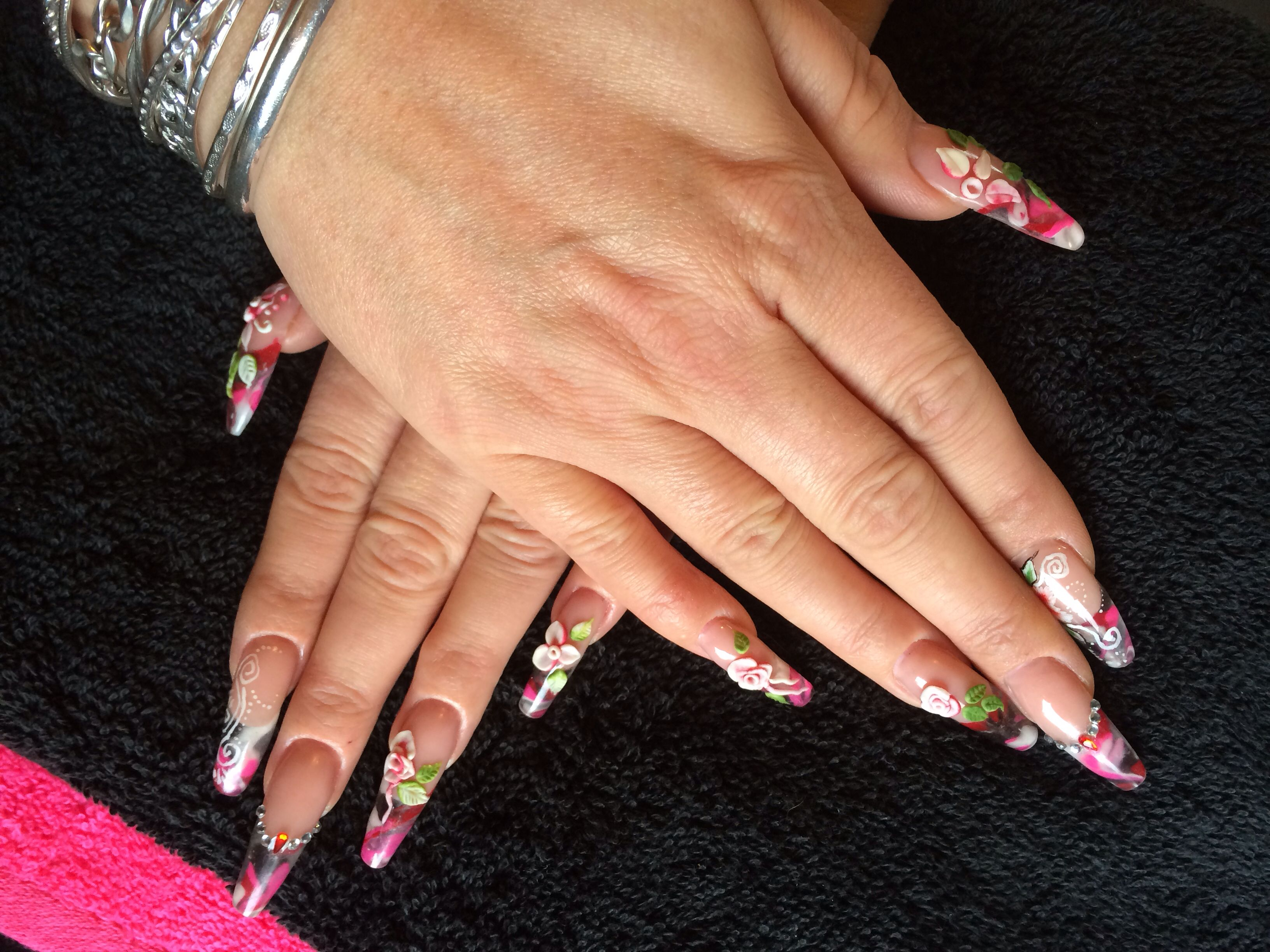 Acrylic Marbling with 3D art, Semi Stiletto Nails   Love these nails ...