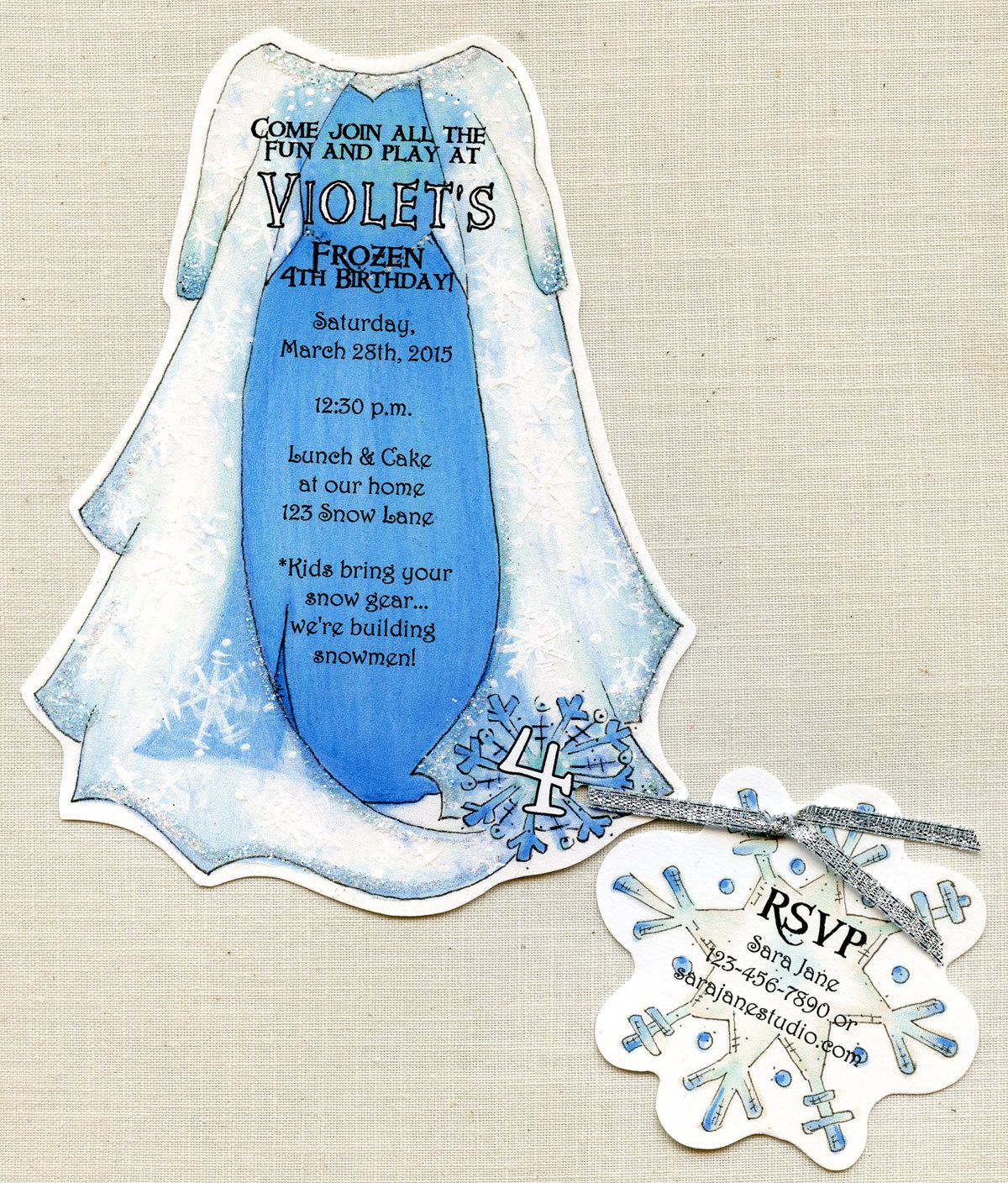 Personalized Frozen Elsa Dress Birthday Party – Snowflake Party Invitations