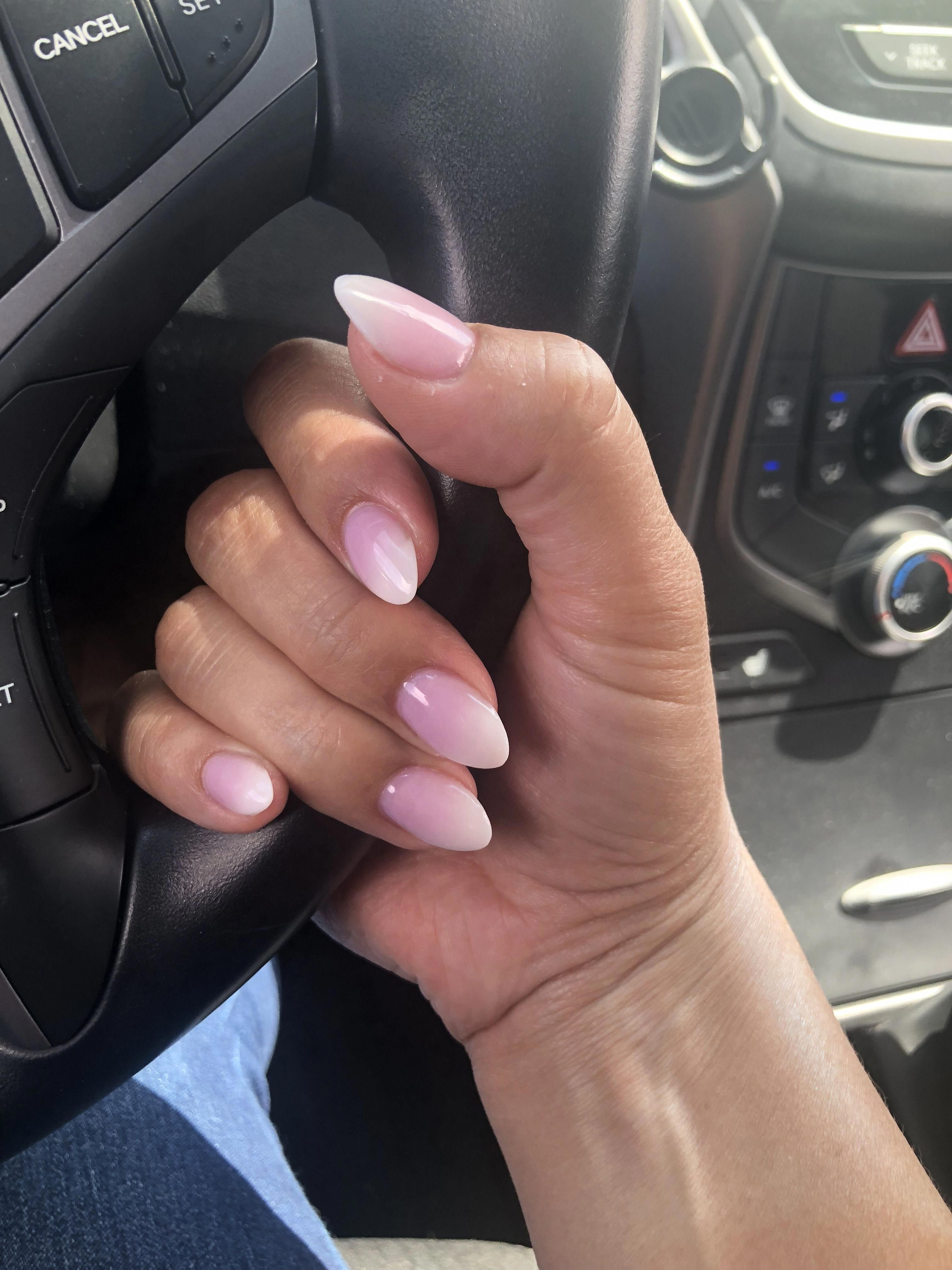 Short Almond Pink And White Ombre Nails Acrylicnailsalmond Pink Ombre Nails Ombre Nails Pink Nails
