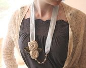 $18.50 Fabric flower necklace. 'Sasha'  A unique vintage inspired design featuring hand made cream silk flowers, pearls, and silk satin ribbon.