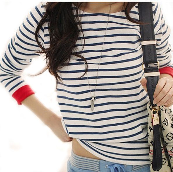 Windreama High Quality Fashion New Navy Style T Shirt Women O-Neck Long Sleeve Tops Black and White Striped Tshirt Women Tees #Affiliate
