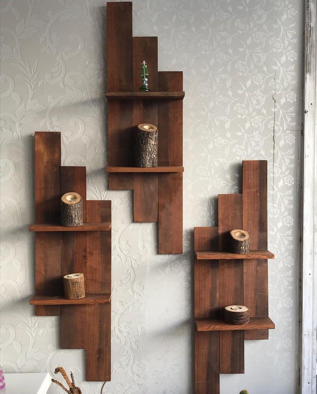 Prateleira Rustica De Madeira Macica Enfeite Todos Ambientes Mykinglist Com Dekorasi Kreatif Ide Dekorasi Rumah Kreatif