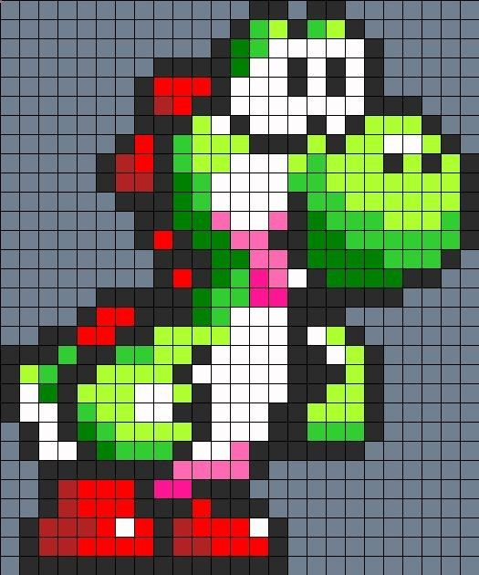 Yoshi Perler Bead Perler Bead Pattern   Bead Sprites   Characters Fuse Bead Patterns