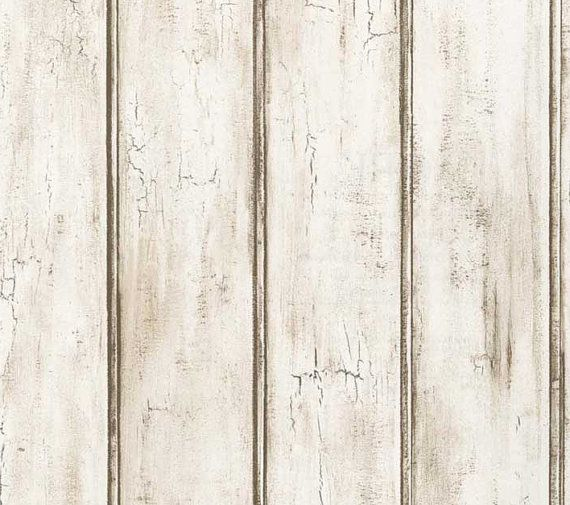 Distressed White Beadboard Faux Wood Wallpaper Aged