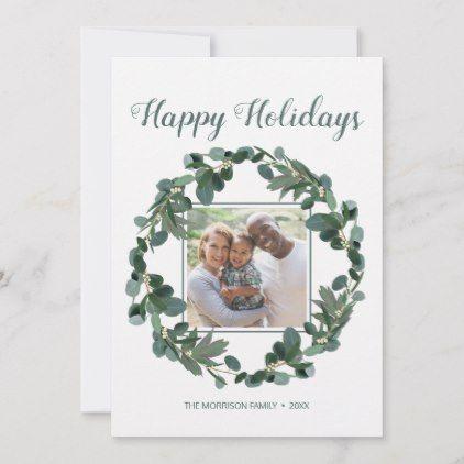 Photo of Happy Holidays Family Photo Eucalyptus Wreath Holiday Card | Zazzle.com