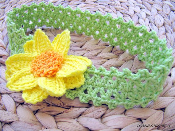 Baby Crochet Pattern, Flower Headband PATTERN, Baby Shower Gift ...