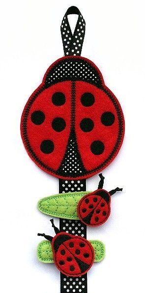 Gg Designs Embroidery Ladybug Clippie Keeper Felt Stitchies In