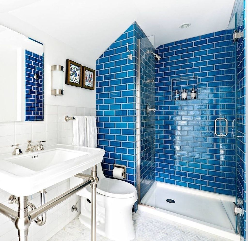 Stunning 20 Charming Bathroom Decor Ideas With Blue Colors Blue Bathroom Tile Small Bathroom Tiles Small Bathroom