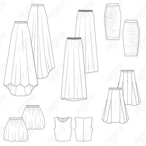 dc847ca65c1 Women's Cocktail Skirts Pack Fashion Flat Template