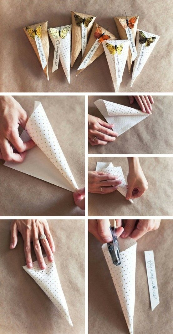 Treat bag / cone shaped wrapping. Butterfly detail - so simple! I ...