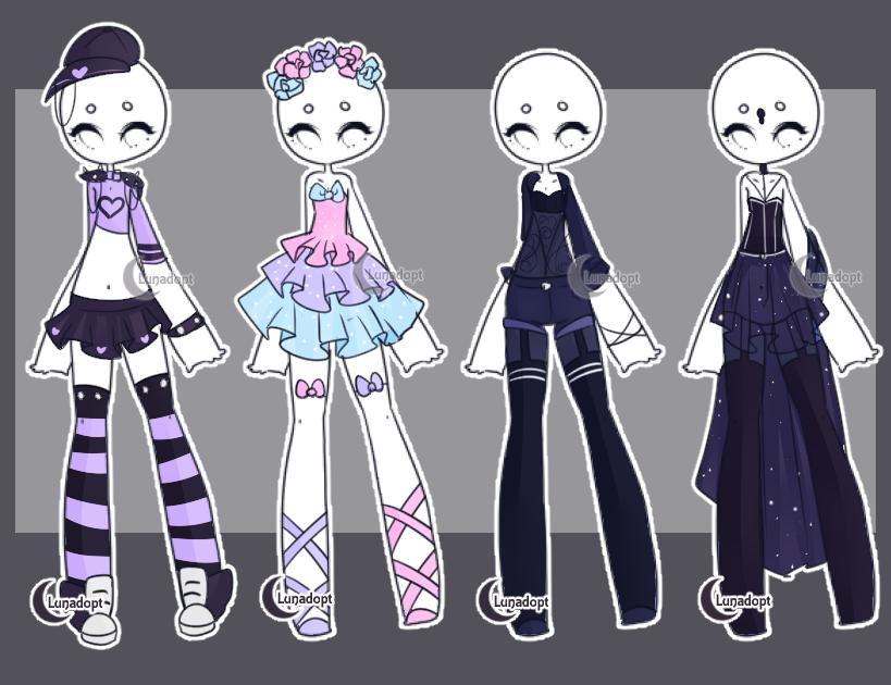 SET 4 Gacha outfits by Lunadopt on DeviantArt Fashion2
