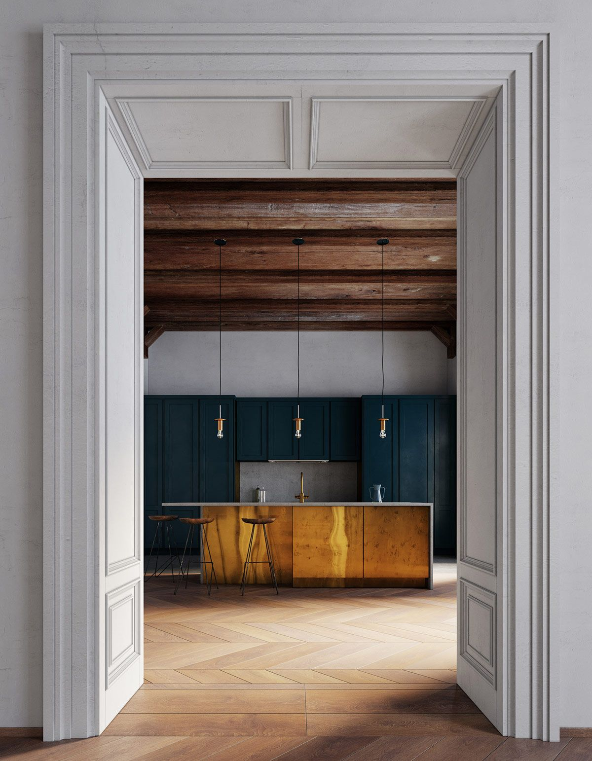 Room Lighting Design Software: Cohesive Colour Themes, Archways And Exposed Wooden Beams
