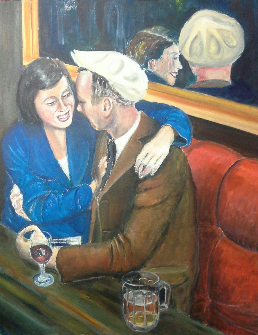Roger Adams work in progress 1930s dancehall.Glass of beer added.