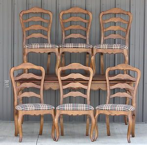 Vtg Ethan Allen Juliette Dining Room Table 6 Chapelle Ladder Back Side Chairs