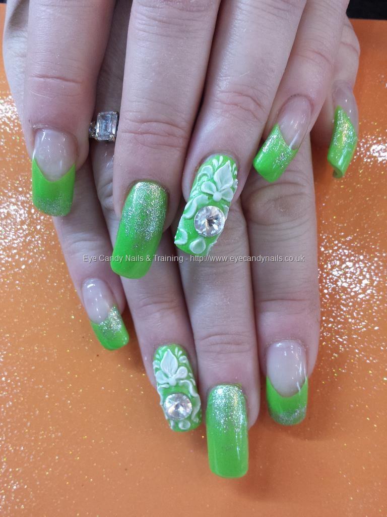 Lime green polish with large swarovski crystal and 3d