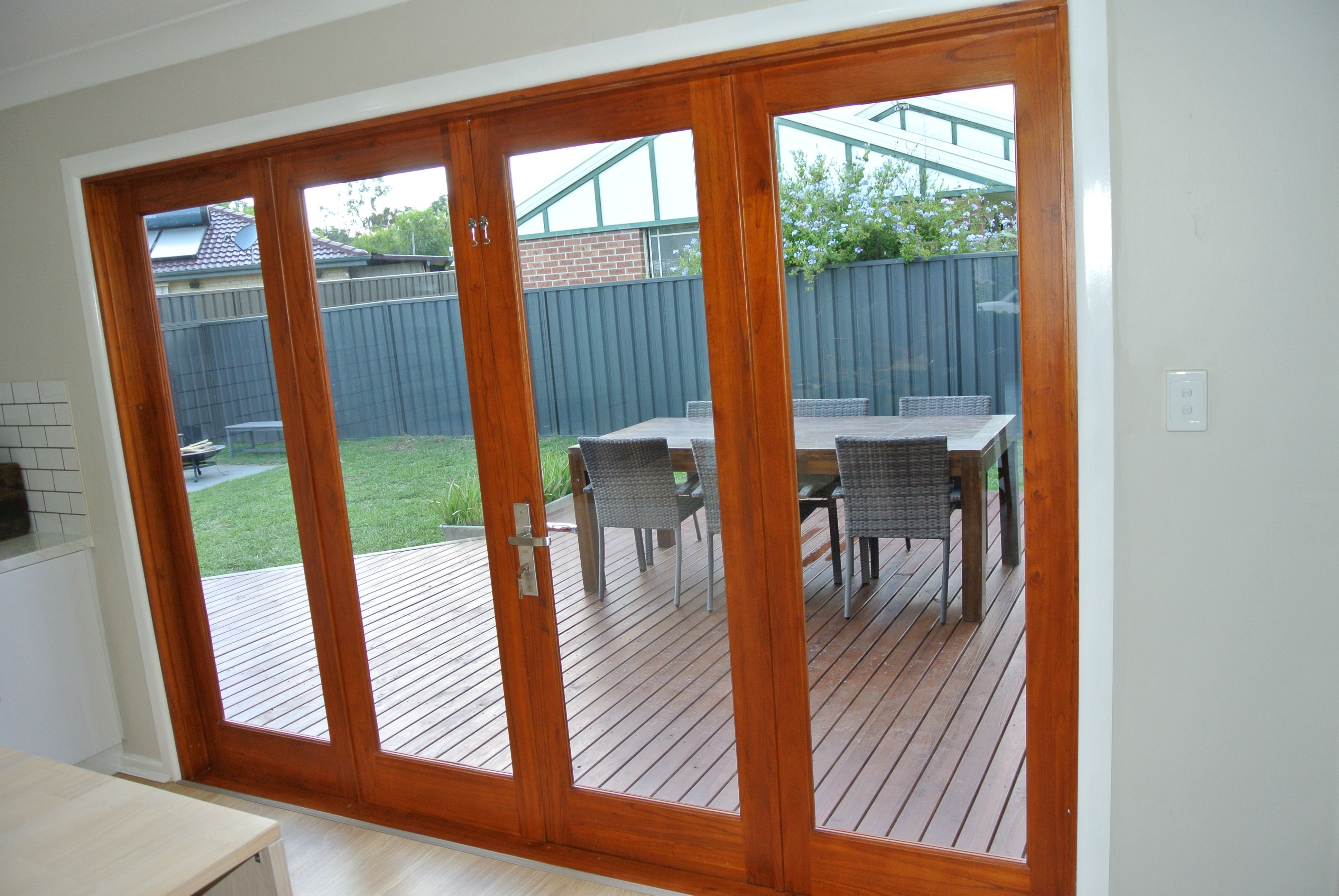4 Panel Bifold Door Dimensions 2950mm X 2100mm X 140mm Dimensions Are Exact To The Outside Of The Frame 6mm Tou Sliding Folding Doors Bifold Doors Timber Door