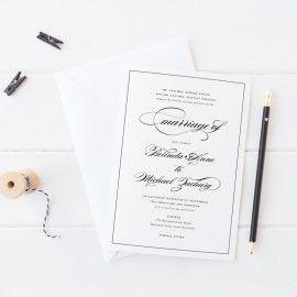 Black And White elegant calligraphy wedding invitation, Professionally Printed, Peach Perfect Australia
