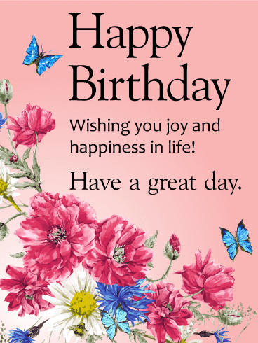 Wishing you joy and happiness happy birthday card cards wishing you joy and happiness happy birthday card m4hsunfo