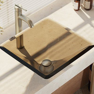RenéByElkay Glass Square Vessel Bathroom Sink with Faucet Faucet