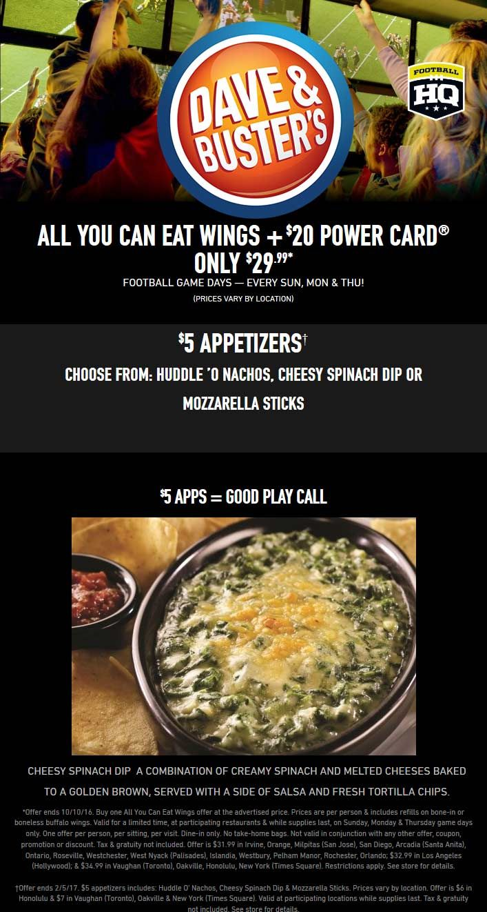 Pinned September 12th Bottomless Wings 20 Game Card 30 Mon Thu Sun Dave Busters Shopping Coupons Creamy Spinach