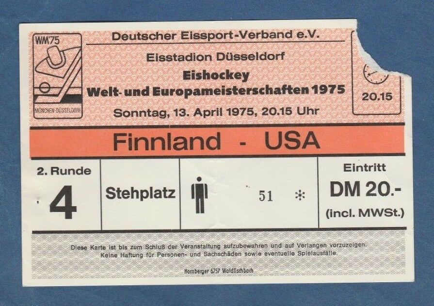Orig.Ticket  Eishockey WM Deutschland 1975  Finalrunde  USA CSSR  ! TOP