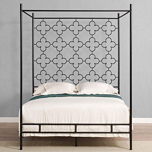 Metal Canopy Bed Frame Full Sized Adult Kids Princess Bedroom ...