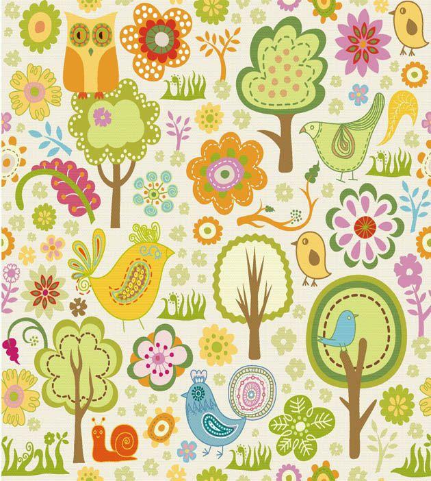 Dibujos infantiles con animales flores y plantas en formato
