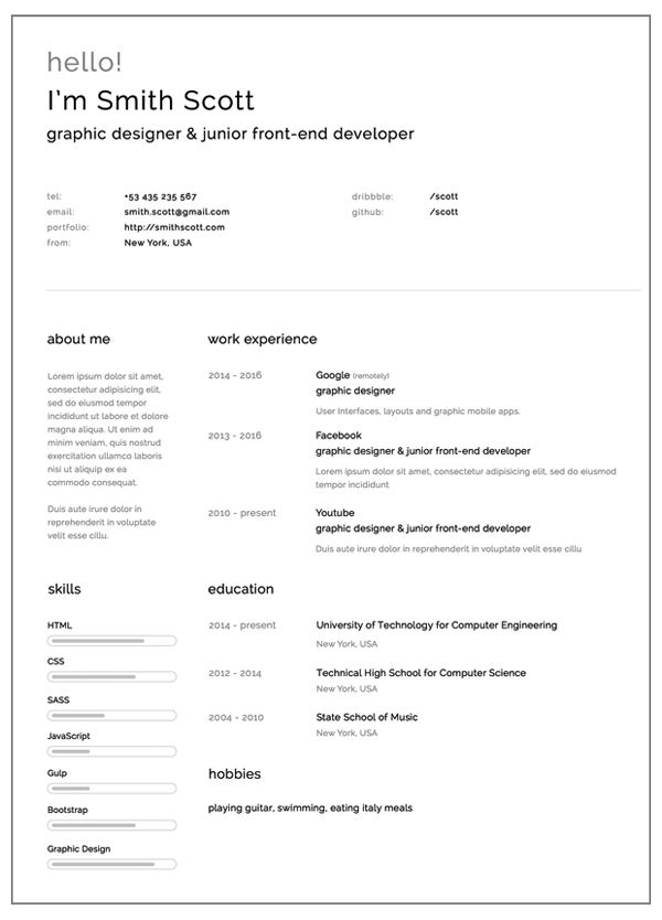 Simple and Clearn Free Resume Template Creative paper Pinterest