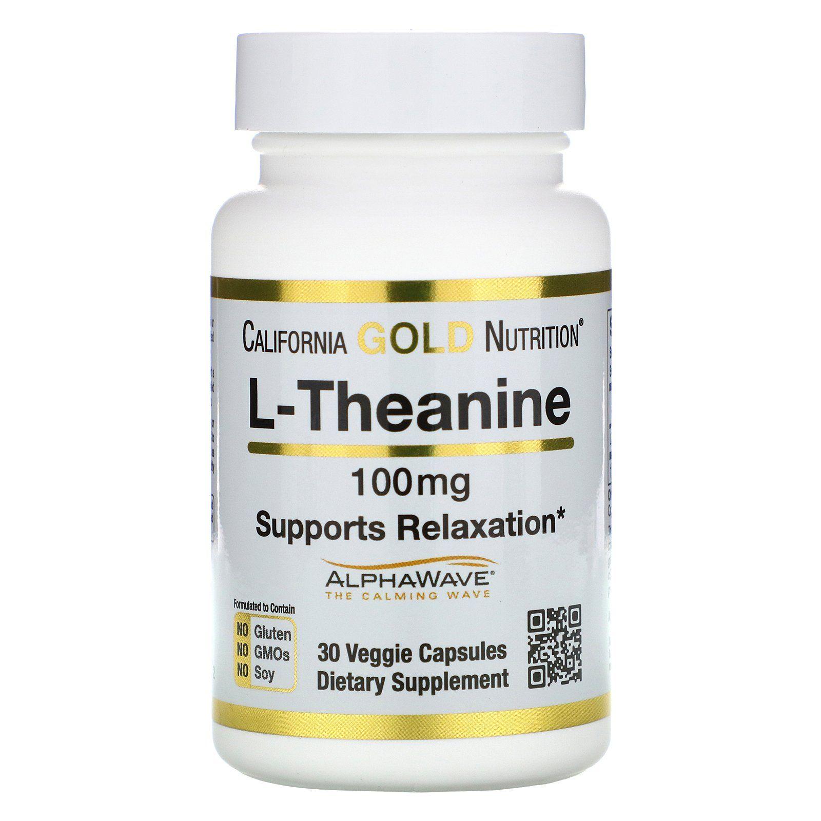 California Gold Nutrition كبسولات ل ثيانين معزز بالـ Alphawave يعزز الاسترخاء والتركيز الهادئ 100 ملجم 30 كبسولة نباتية Veggie Capsule Nutrition Theanine