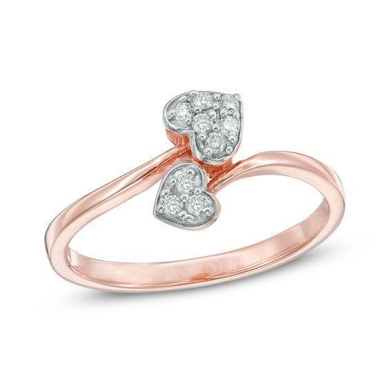 Zales 1/10 CT. T.w. Diamond Interlocking Ring in Sterling Silver and 10K Two-Tone Gold fpdZ7XoN