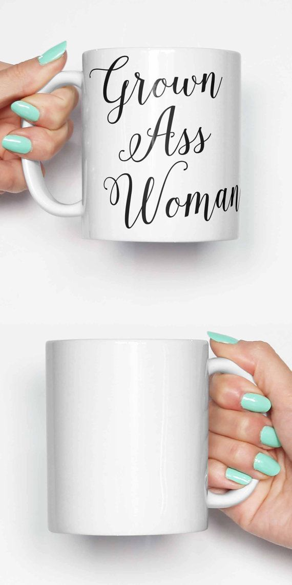 FREE SHIPPING coupon SHIPPY When spending over $28/£20/€26  Grown ass woman - coffee mug. This cute mug is great as a present, for someone in the office or as a gag gift mug.  Dishwasher safe with amazing quality print.  IF YOU WOULD LIKE DIFFERENT DESIGNS WHEN SELECTING TWO, THREE OR FOUR MUGS. PLEASE LEAVE A NOTE OF THE PRODUCT CODES AT CHECKOUT WHICH CAN BE FOUND AT THE END OF THE PRODUCT TITLE.