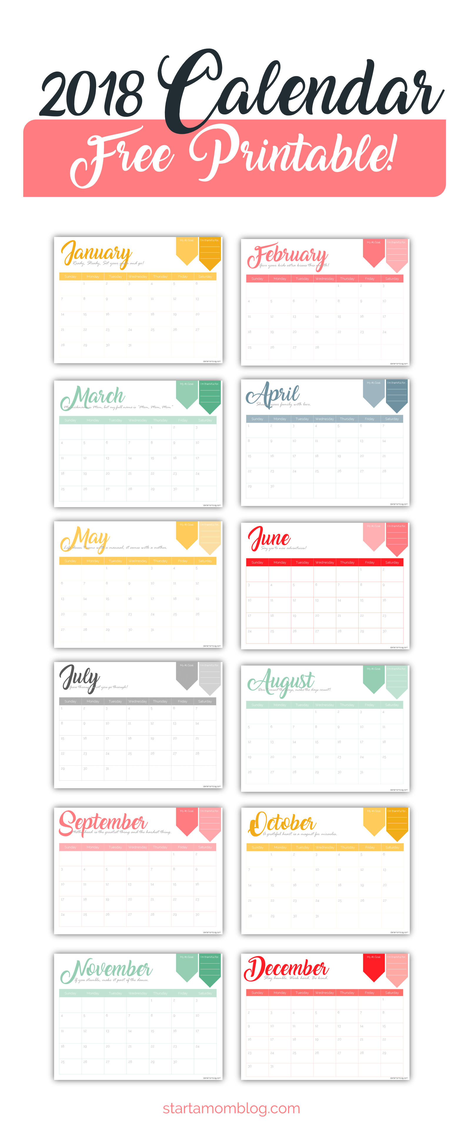 2018 Calendar Template Free Printable Start A Mom Blog Design