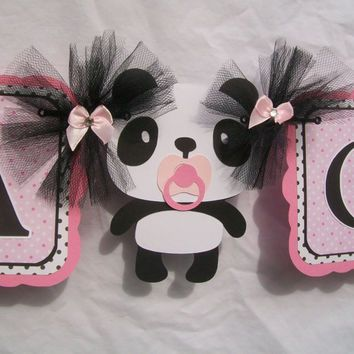 Panda Baby Shower Banner, Its A Girl Banner, Pink, Black And .